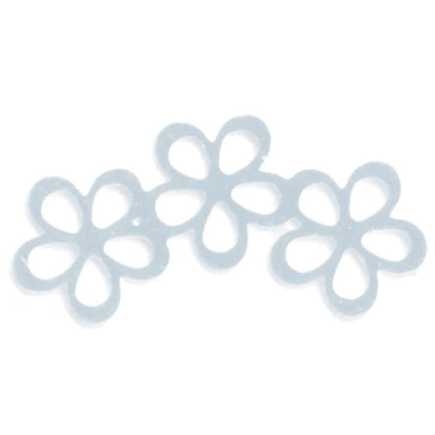 大いにうんざり修正するリトルプリティー ネイルアートパーツ シャイニーフラワー3連スカシ シルバー 10個