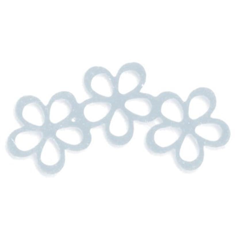 報復豊富信頼リトルプリティー ネイルアートパーツ シャイニーフラワー3連スカシ シルバー 10個