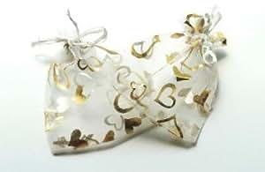 プレゼント ラッピング 用 オーガンジー 巾着 袋 100 枚 セット ジュエリー 包装 にも 12 cm × 9 cm (ホワイト)