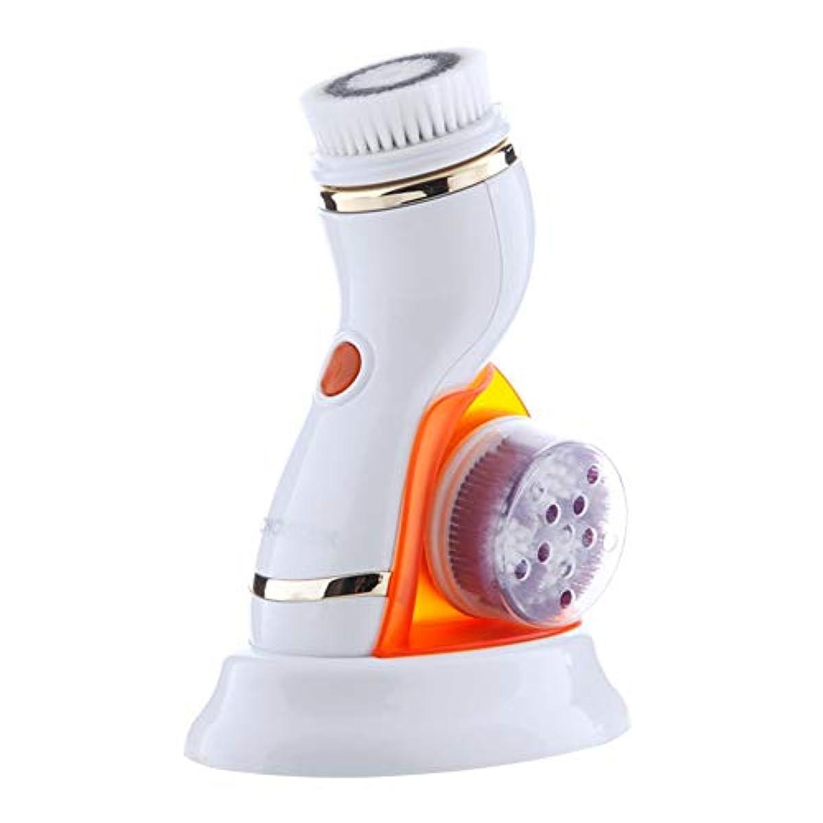 住居牽引微弱ZHILI 洗顔ブラシ、電気洗顔料洗顔ブラシ洗顔ブラシ洗顔ポアクリーナー (Color : Orange)