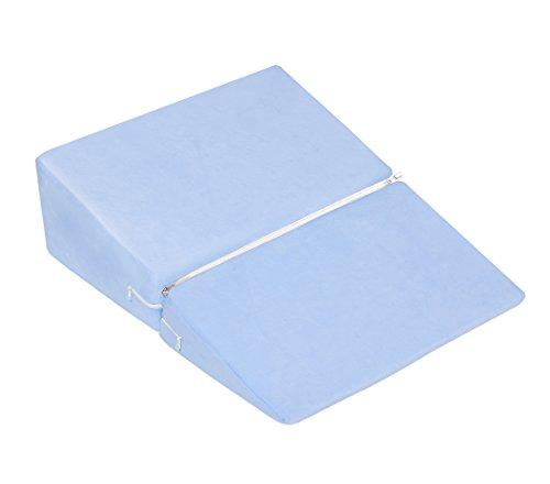Meiz 三角枕 なだらかクッション 逆流性食道炎 体圧分散 傾斜枕 高反発マット ベビー枕 二折 (50cm クールブルー)