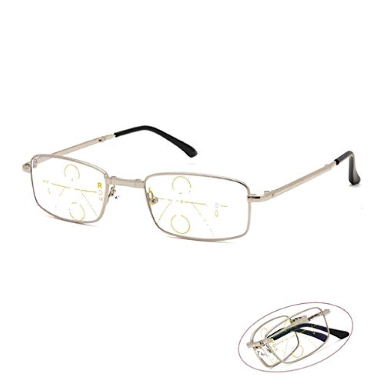 インテリジェント老眼鏡 折りたたみ式プログレッシブ多焦点老眼鏡、青色光遮断メガネ、メタルフルフレームコンピューターメガネ、屋内/屋外兼用老眼鏡、持ち運びが簡単