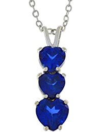 Created Blue Sapphire Heart Pendant .925 Sterling Silver
