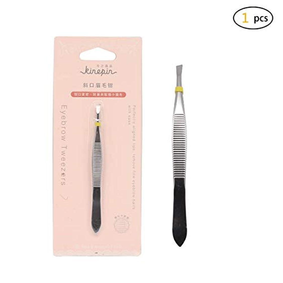 韓国語蒸発する無意識Dofashピンセット1pcsステンレススチールの斜めの先端と尖った眉毛ピンセットセットフェイシャルヘア/イングレイトヘア、スプリンター、にきび、ダニリムーバーに最適な精度(シルバー)