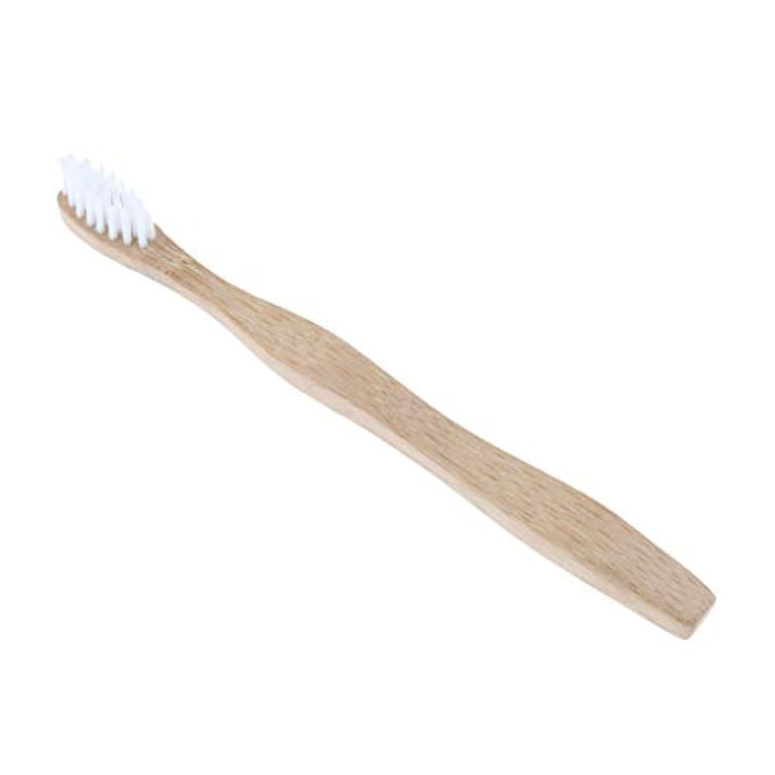 sharprepublic キッズ ハブラシ 歯ブラシ ソフト ブリストル 木製ハンドル 歯ブラシ 歯ケア 全4色 - 白
