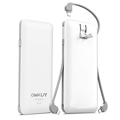 モバイルバッテリー 大容量 (10000mAh 3つケーブル内蔵 1USBポート 折り畳みプラグ)急速充電 軽量 薄型 コンセント iPhone&iPad&Android各種対応 ホワイト