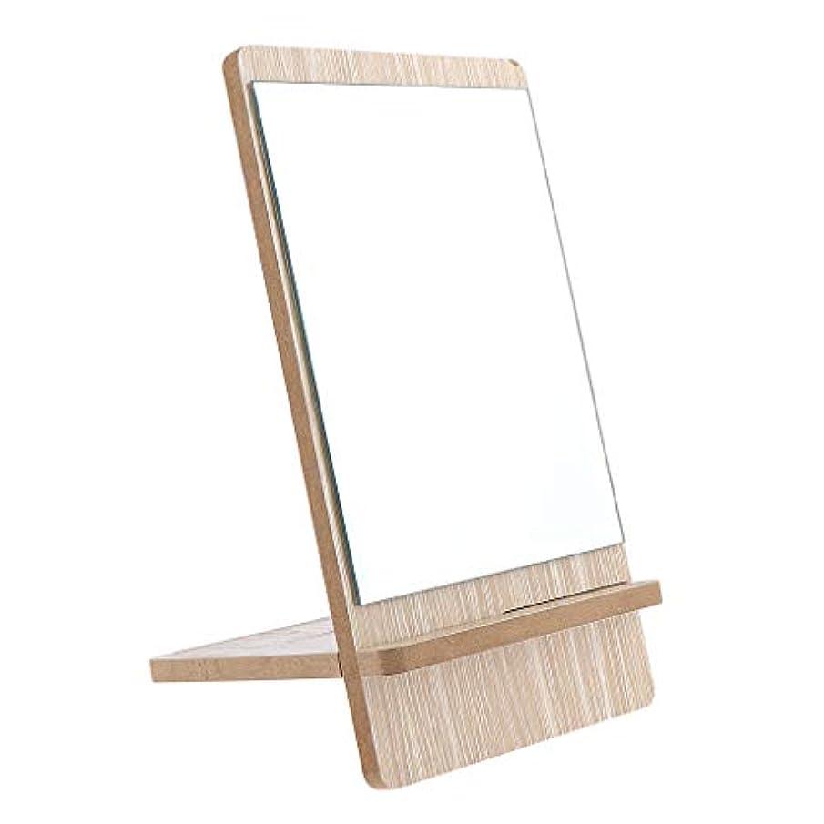 ために時代遅れせがむF Fityle メイクアップミラー バスルーム シェービング バニティミラー 立てミラー 木製 3サイズ選べ - 大