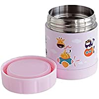 Marcus & Marcus Animal Themed Kids Stainless Steel Thermal Container - Pink [並行輸入品]