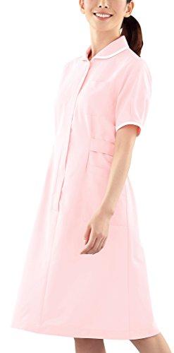 医療ユニフォーム ナースウェア ワンピース半袖 ピンク KAZEN アプロン M  082-83