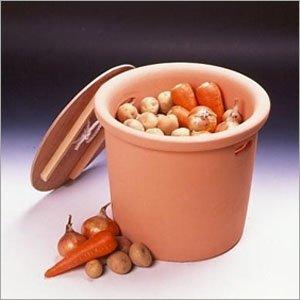 素焼きの野菜ストッカー テラコッタ製キッチンポット