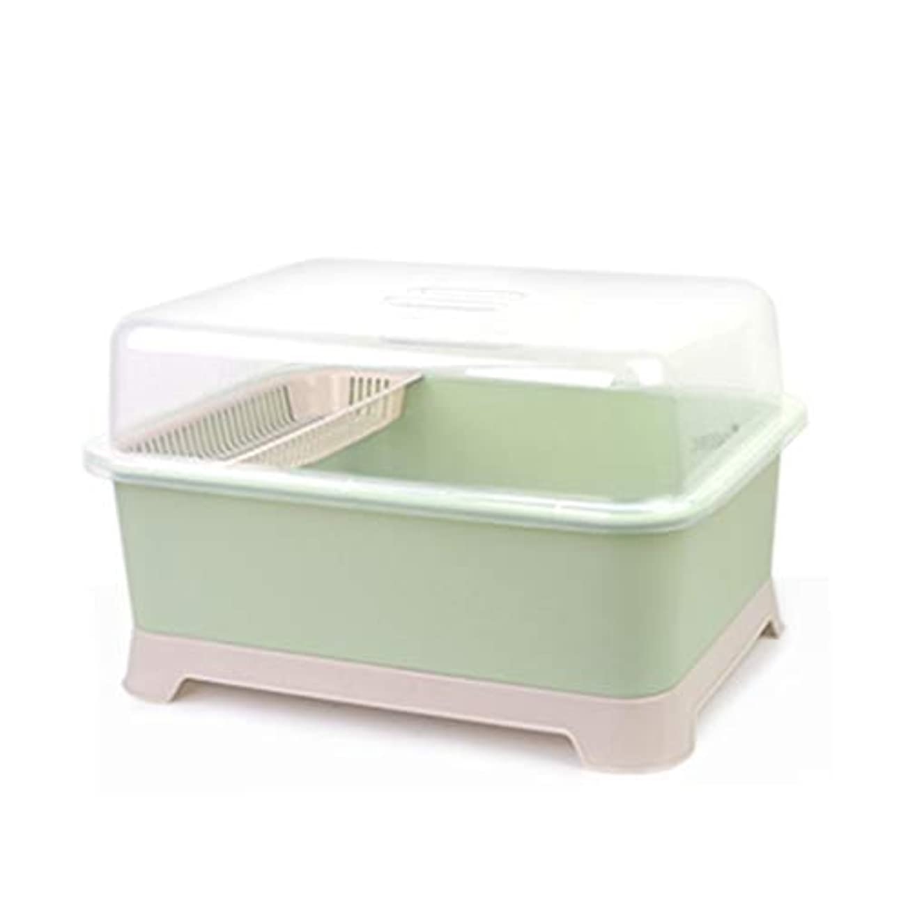 下別に廊下IUYWL キッチンドレンラック、大型食器収納ボックス、蓋付き収納ボックス、プラスチック製食器棚、家庭用食器棚 キッチンドレンラック (Color : Green)