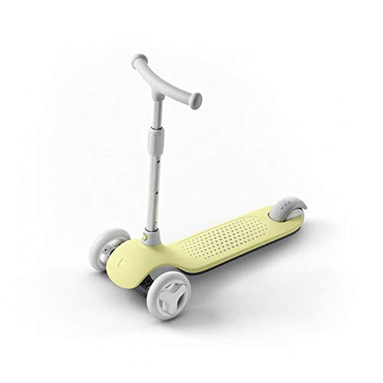 キックスクーター 子供3の車輪のためのスクーター、5から14歳までの子供のためのグライダーの車輪の広いデッキが付いているTバーの調節可能な高さのハンドルの蹴りのスクーター (色 : 黄)