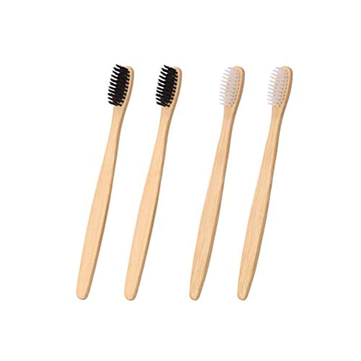 採用信頼性のある腹部SUPVOX 4本使い捨て竹生分解性歯ブラシエコフレンドリー歯ブラシ(白黒各2本)