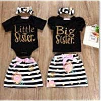 Buyinsoon Infant Toddler Baby Girl Clothes Big/Little Sister Matching Top T-Shirt Romper Dress Outfit 3Pcs Summer Outfit Set