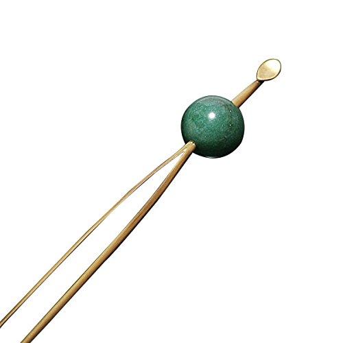 [ 京都きもの町 ] 玉かんざし 簪 アンティークゴールド×グリーン天然石