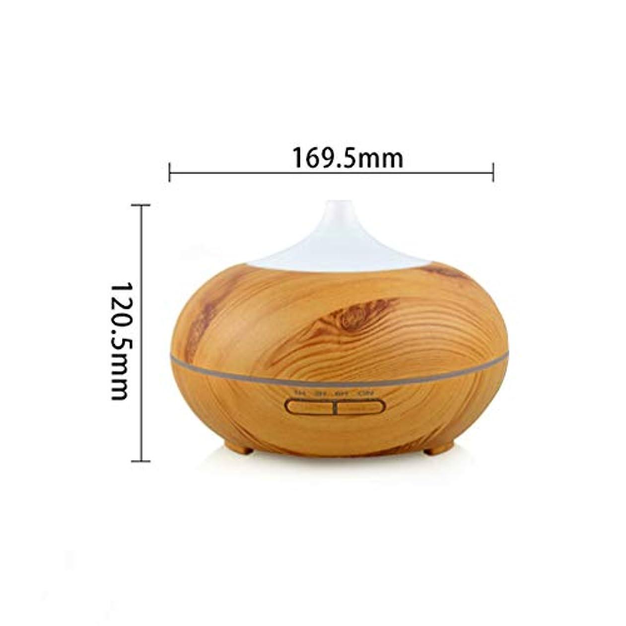 木目 涼しい霧 加湿器,7 色 空気を浄化 加湿機 時間 手動 Wifiアプリコントロール 精油 ディフューザー アロマネブライザー Yoga- 300ml