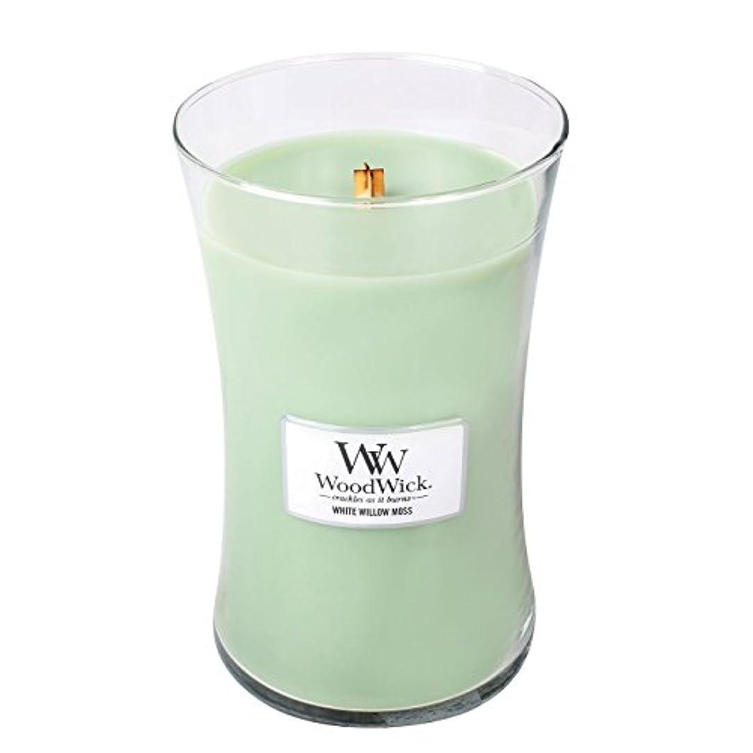 きょうだい不振不安WoodwickホワイトWillowモス、Highly Scented Candle、クラシック砂時計Jar , Large 7-inch、21.5 Oz