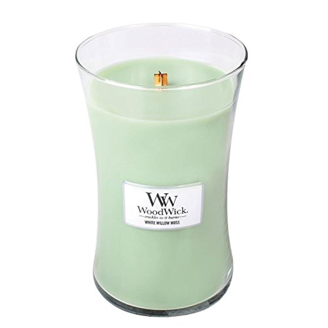 白い落胆させる統合WoodwickホワイトWillowモス、Highly Scented Candle、クラシック砂時計Jar , Large 7-inch、21.5 Oz