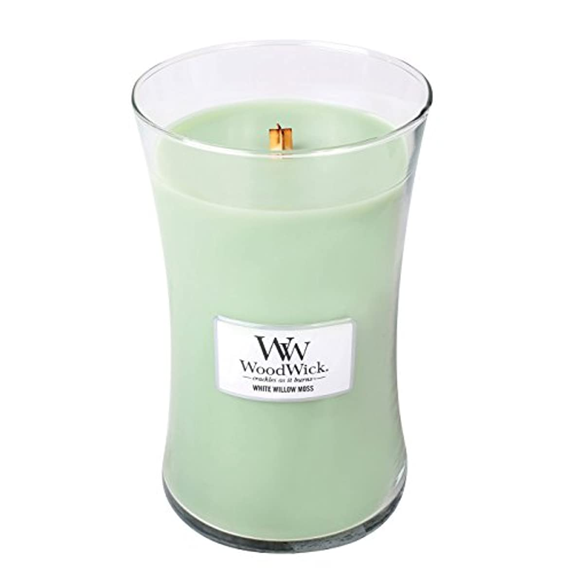 大佐センター望むWoodwickホワイトWillowモス、Highly Scented Candle、クラシック砂時計Jar , Large 7-inch、21.5 Oz