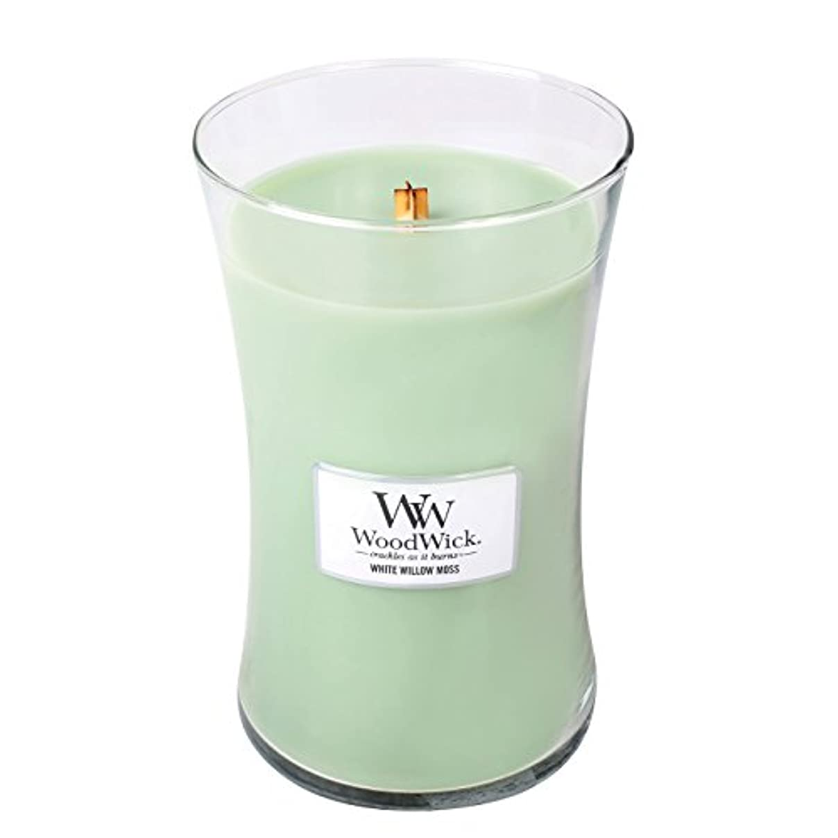 シャークまっすぐにする不承認WoodwickホワイトWillowモス、Highly Scented Candle、クラシック砂時計Jar , Large 7-inch、21.5 Oz