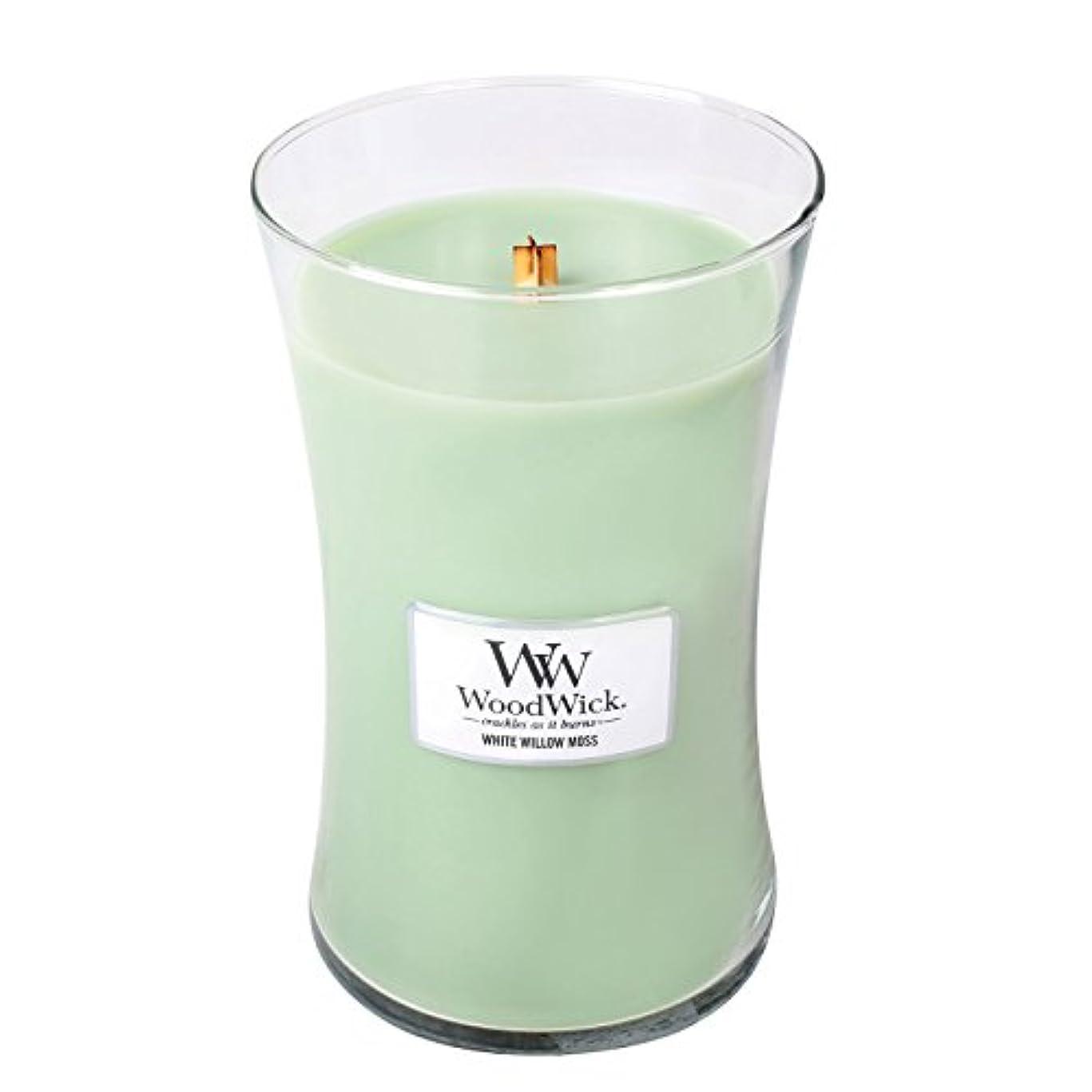 ピクニックをする不運故国WoodwickホワイトWillowモス、Highly Scented Candle、クラシック砂時計Jar , Large 7-inch、21.5 Oz
