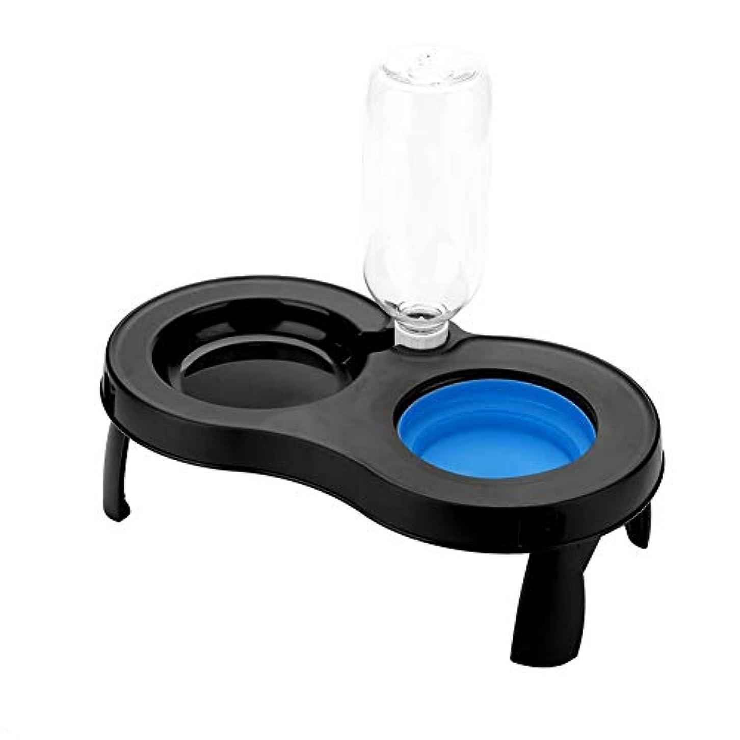 犬のボウル Acouto ペット 犬 猫 小動物 ダブル給餌ボウル ご飯入れ 食器 食事 台 プレミアム 安全 無毒 耐磨耗 耐久 清掃しやすい 餌やり 水やり(ブルー)