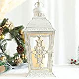 "JHY Design Silver Decorative Lanterns 15"" High Stainless Steel Candle Lanterns with Tempered Glass for Indoor Outdoor, Events"