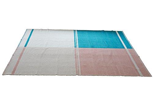 スミノエ ラグ・カーペット ターコイズ(ライトブルー×ピンク) 140×200cm インド綿 ノリック