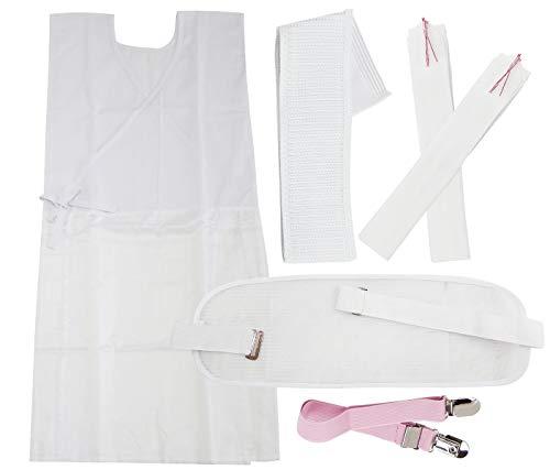 【華みち】 浴衣小物 6点セット 着付け 前板 マジックベルト 着物ベルト 腰ひも2本 ホワイト