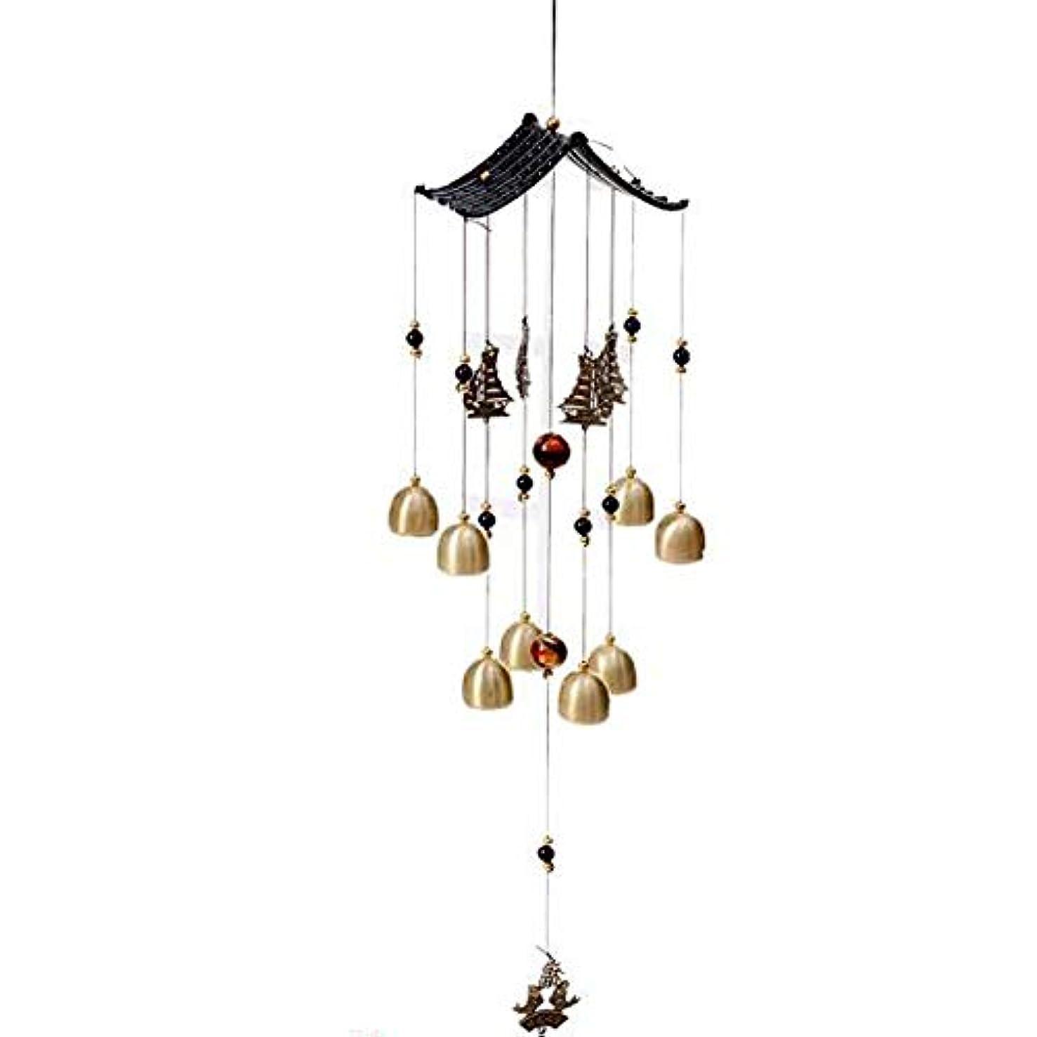 キャラクタークロール松明Kaiyitong01 風チャイム、金属銅鐘ホームデコレーション、ブラック、サイズ62 * 13CM,絶妙なファッション (Color : Black-A)