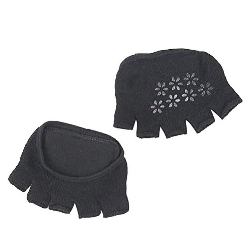 前足パッド、5本指ソックス、脛骨パッド保護パッド - ユニセックスフットケア (Color : 黒)