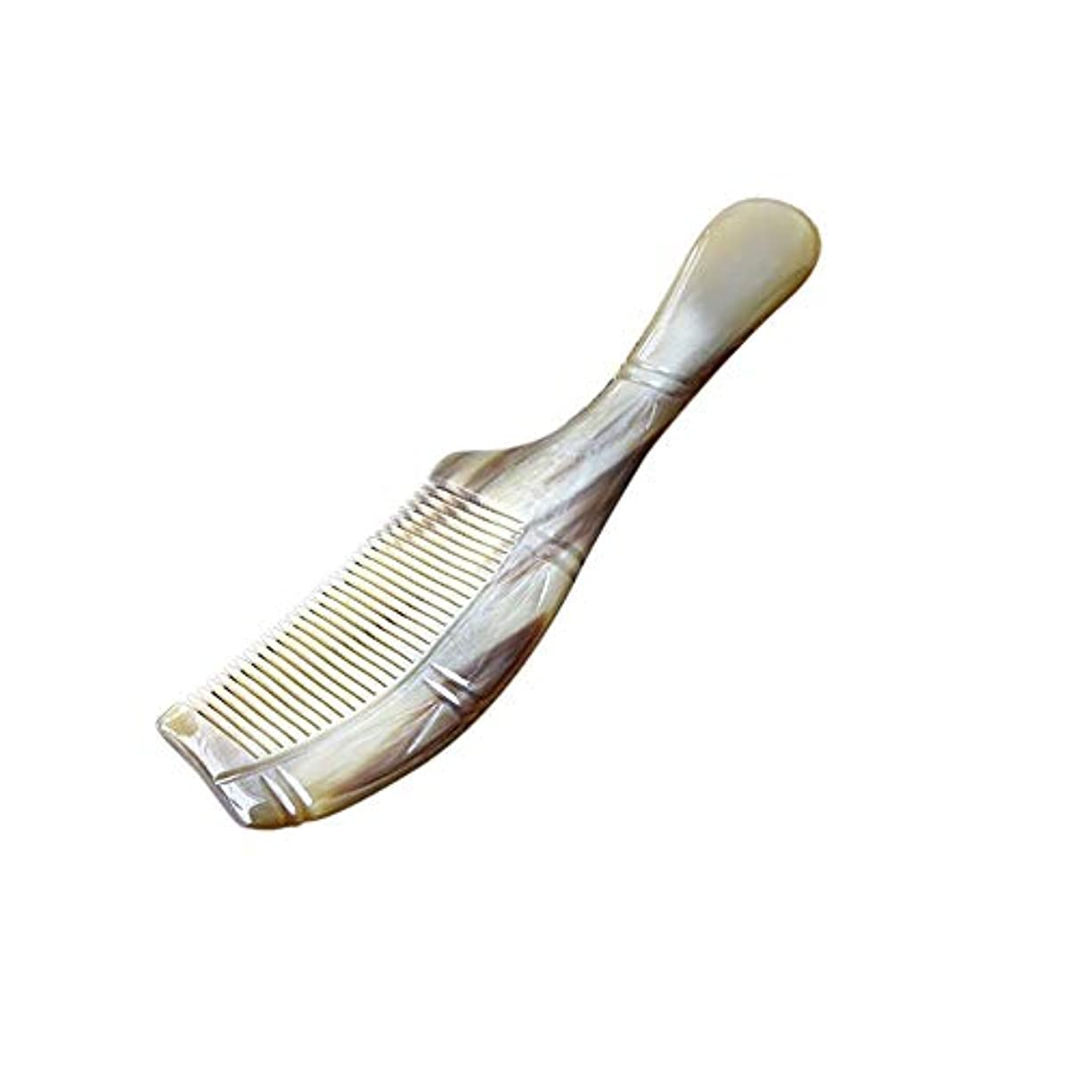 変動する静かに必要ないFashian絶妙彫刻バッファローホーンくし、ナチュラル木製くし大マッサージヘアブラシ ヘアケア