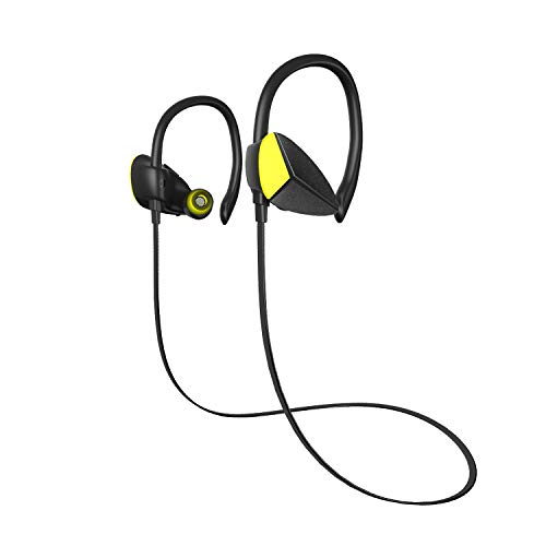 Bluetooth ワイヤレス イヤホン 高音質・低遅延・重低音 CVC6.0 ノイズキャンセリング搭載 ハンズフリー通話・リモートコントロール・音楽機能 IPX4防水仕様 2台同時に待受可能 1年保証 iPhone、Android各種対応 黄色