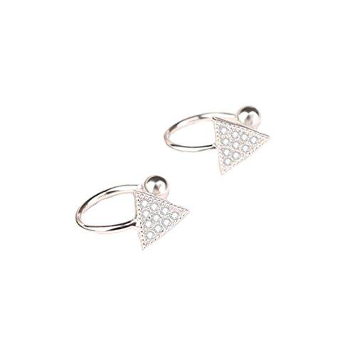 [해외][틴틴 로즈] TingTing Rose 여성 925 페이크 피어싱이야 카후 간단한이야 카후 귀걸이 트라이앵글 지르콘/[Ting Ting Rose] TingTing Rose Ladies Silver 925 Fake Piercing Ear Cuff Simple Ear Cuff earrings Triangle zircon