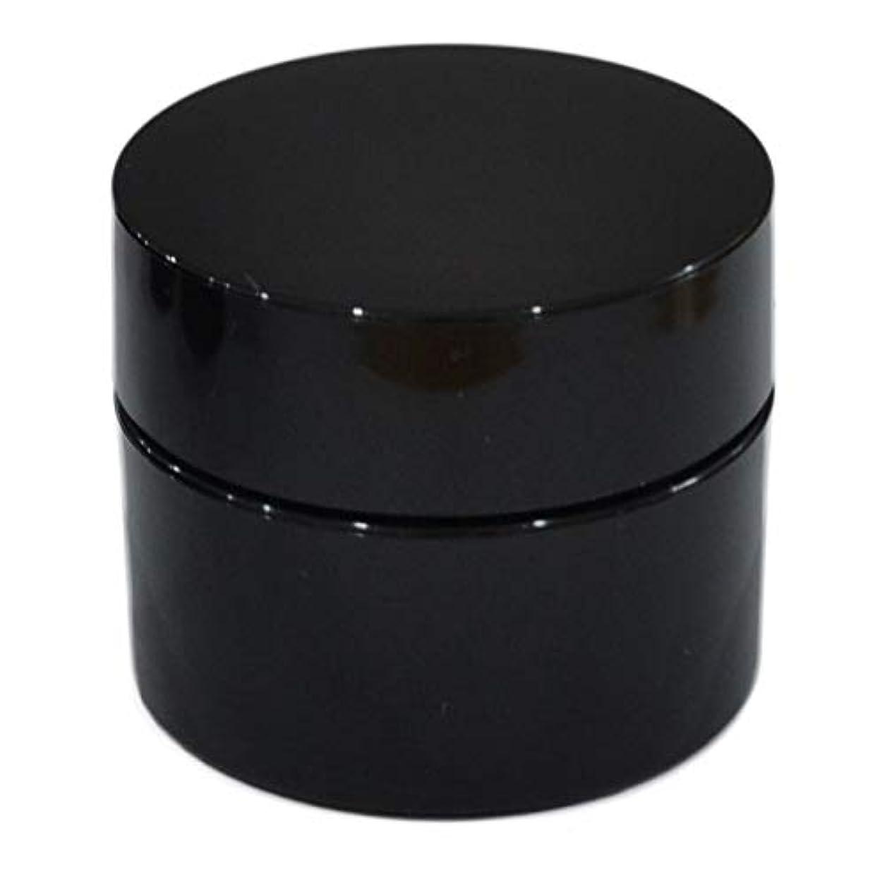 シール統治するボア純国産ネイルジェル用コンテナ 10g用GA10g 漏れ防止パッキン&ブラシプレート付容器 ジェルを無駄なく使える底面傾斜あり 遮光 黒 ブラック