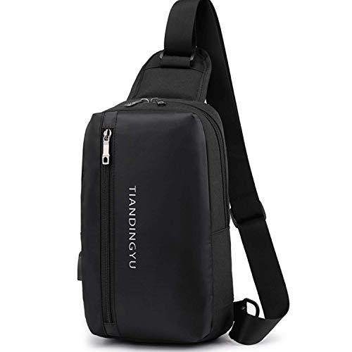 ボディバッグ メンズ ワンショルダー 斜め掛けバッグ ショルダーバッグ 軽量 防水 通勤 旅行 iPad収納可能 (ブラック)