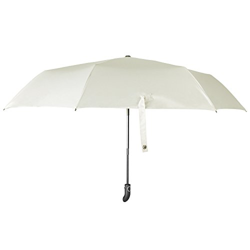 crookee 日傘 折りたたみ傘 自動開閉 晴雨兼用傘 ワンタッチ 軽量 レディース 女性用 UPF50+ UVカット率99% 完全遮光 遮熱加工 オフホワイト YS014w