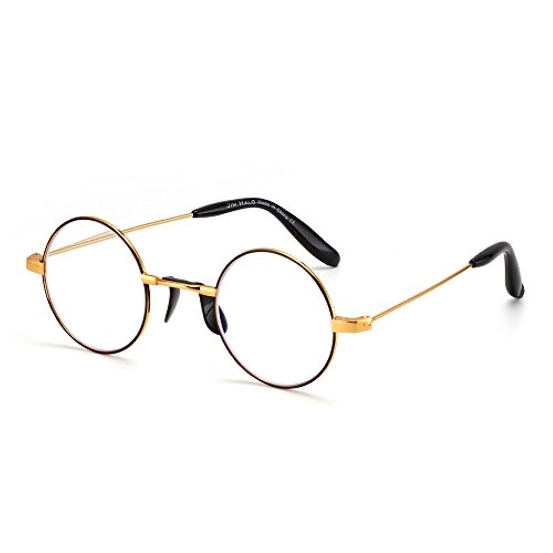 JIM HALO ラウンドリーディンググラス ブルーライトカット 老眼鏡 軽量 シニアグラス おしゃれ レディース メンズ(ブラック、+1.50)