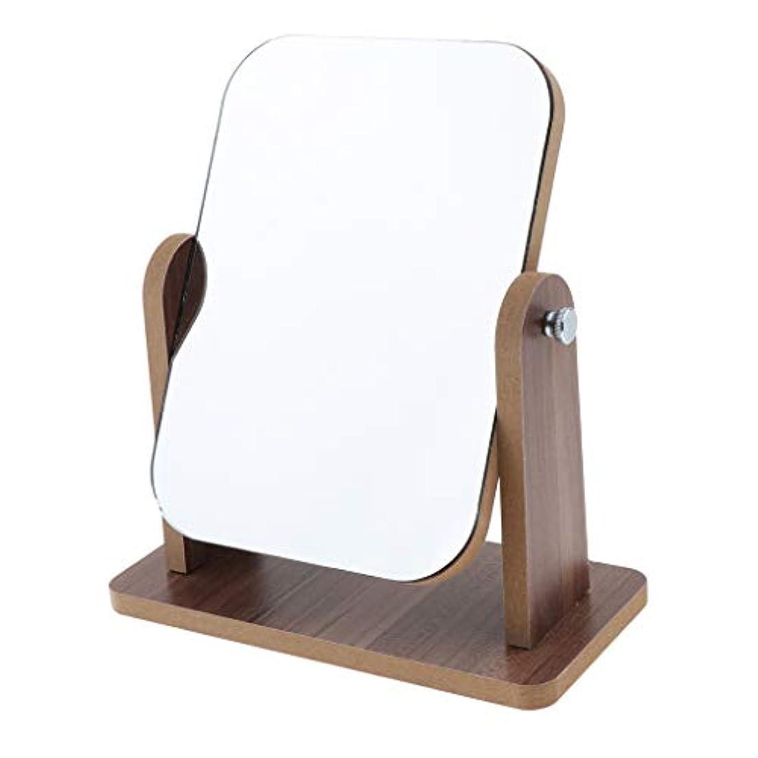 住所陰気運営卓上化粧鏡 木製フレーム 自立型 鏡 デスクトップ 高精細 化粧鏡 調整可能 全3サイズ - 小