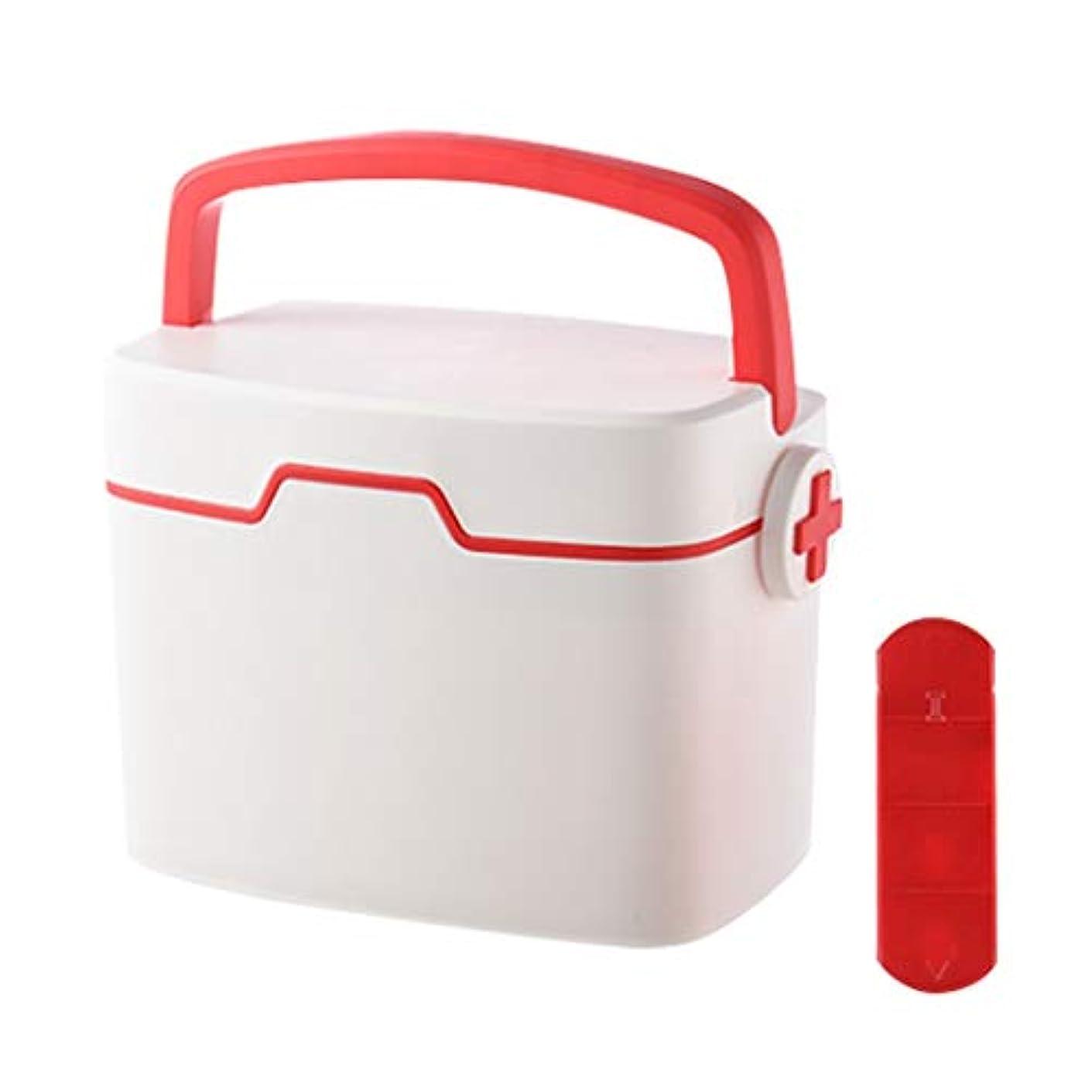 動物勇者家庭CQ 家庭用二層緊急救助キット大容量コンパートメント収納ボックスポータブル寮仕上げ収納ボックス (Color : Red)