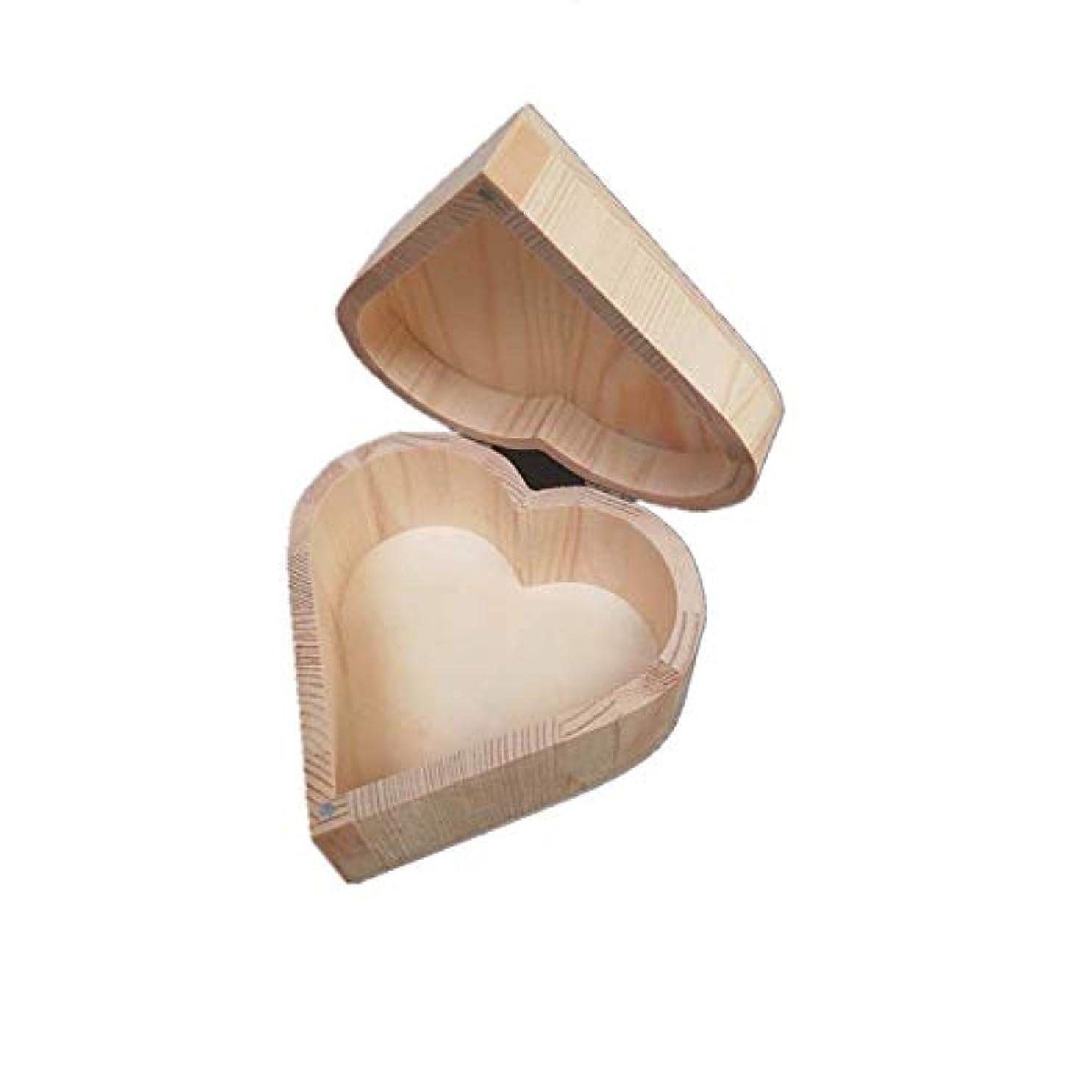 花婿浅い無実手作りハート木製のエッセンシャルオイルボックスパーフェクトエッセンシャルオイルケース アロマセラピー製品 (色 : Natural, サイズ : 13X13X7CM)