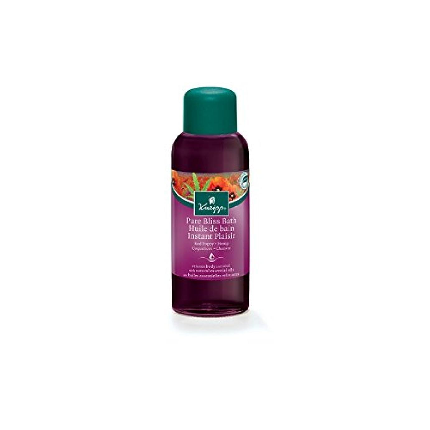 挽く何故なの列挙するクナイプ純粋な至福ハーブの赤いケシと麻バスオイル(100ミリリットル) x4 - Kneipp Pure Bliss Herbal Red Poppy and Hemp Bath Oil (100ml) (Pack of...