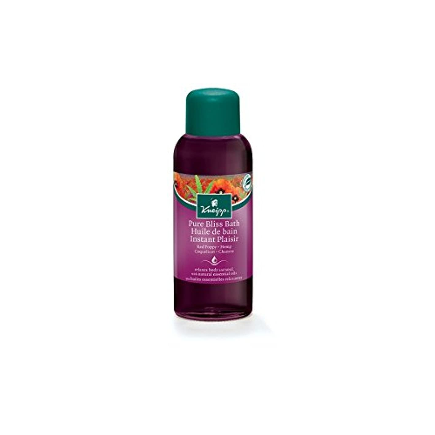 女の子見積り地図クナイプ純粋な至福ハーブの赤いケシと麻バスオイル(100ミリリットル) x4 - Kneipp Pure Bliss Herbal Red Poppy and Hemp Bath Oil (100ml) (Pack of...