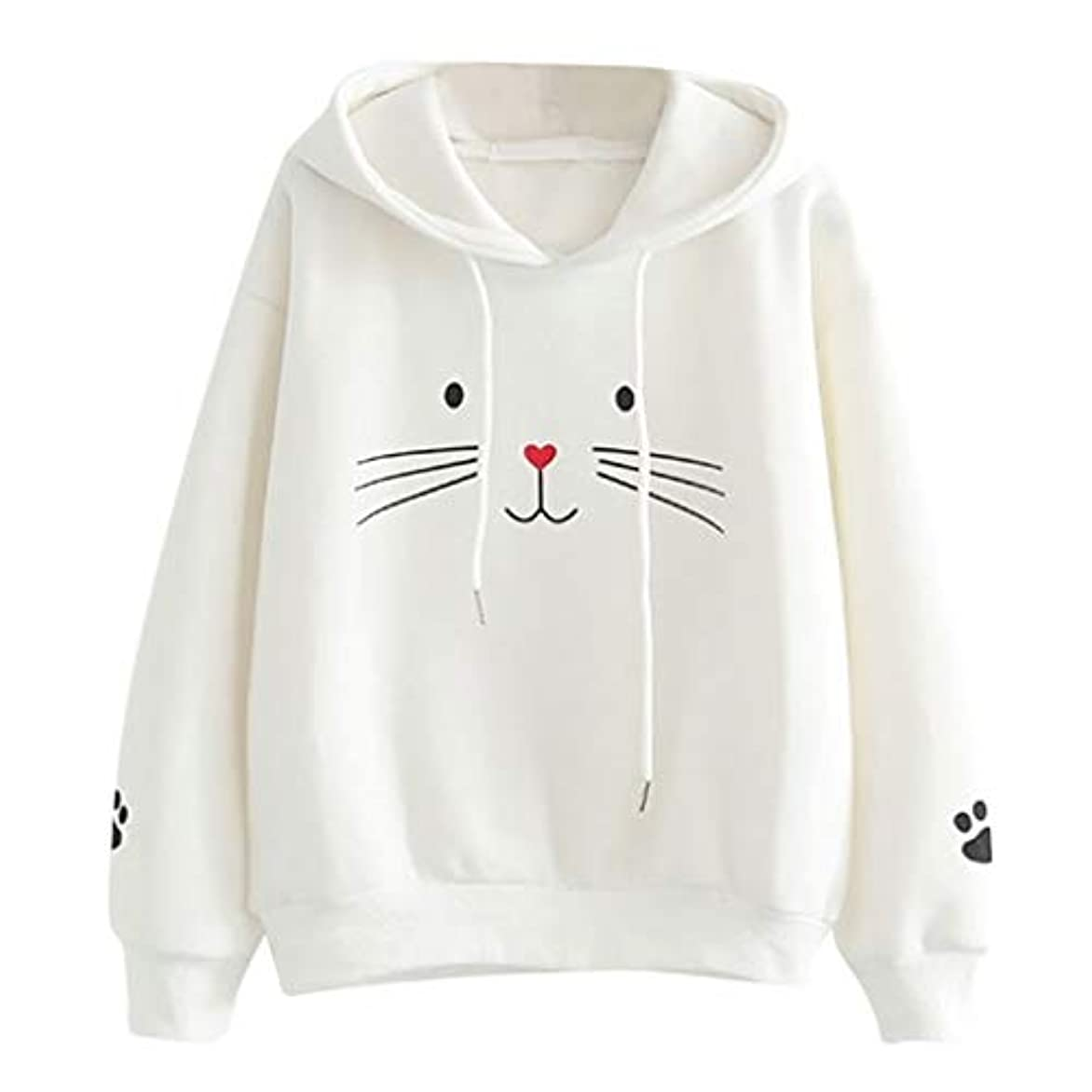 控えめな億示すパーカー レディース トレーナー プルオーバー スウェット シンプル かわいい 猫柄プルオーバーフード付き 森ガール カジュアル 可愛い Tシャツ カットソー ゆったり おしゃれ 長袖 シャツ 薄手 ゆったり 韓国ファッション トップス