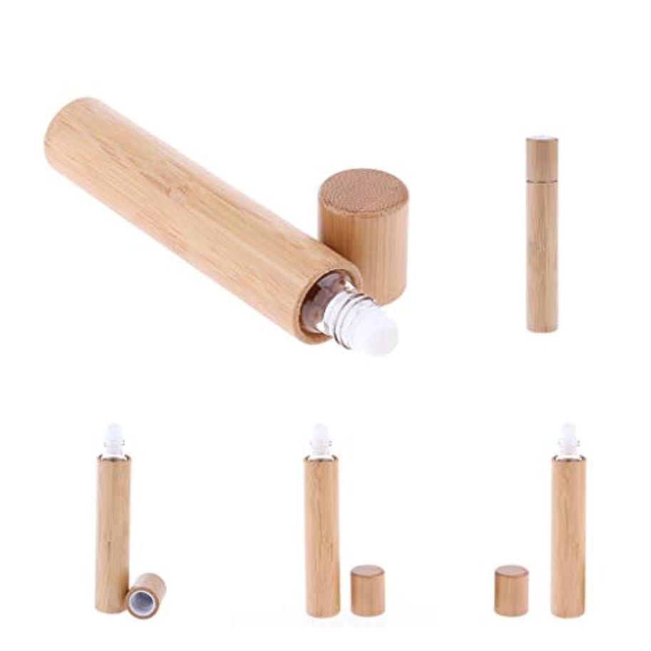 ポンプ受付負担Hellery 15ml ロールオンボトル 香水詰め替えボトル 天然竹 香水 精油 持ち運び 携帯用 5個入