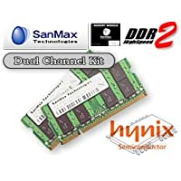 SanMax ノート用メモリ hynix DRAM搭載 200pin DDR2-667 (PC2-5300) SODIMM CL5 2GB(1GB x 2枚)セット 1.8volt JEDEC準拠 SMD-N2G88HP-6E-D