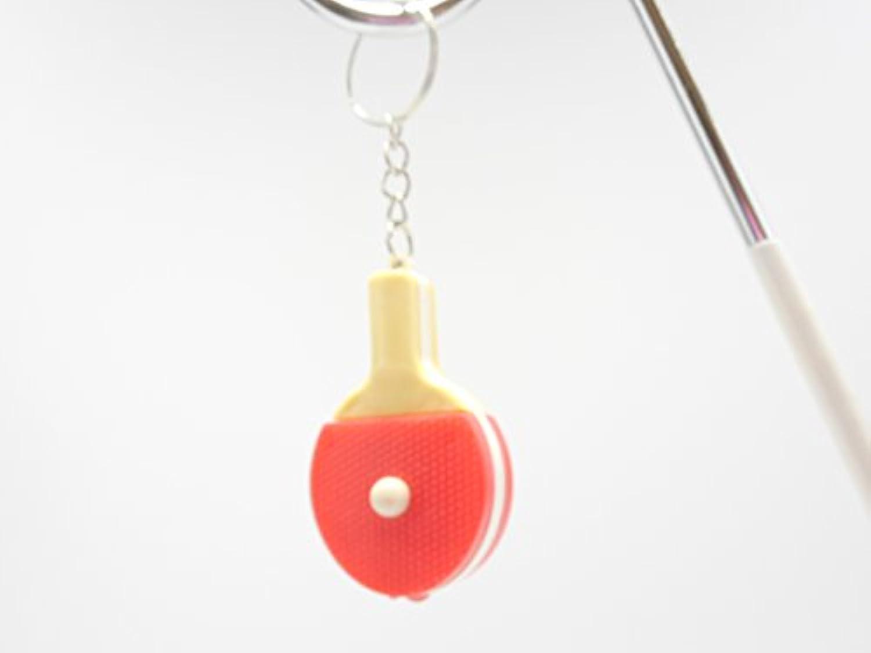 卓球 グラシアス 卓球のラケット型 LEDライト キーホルダー(赤)