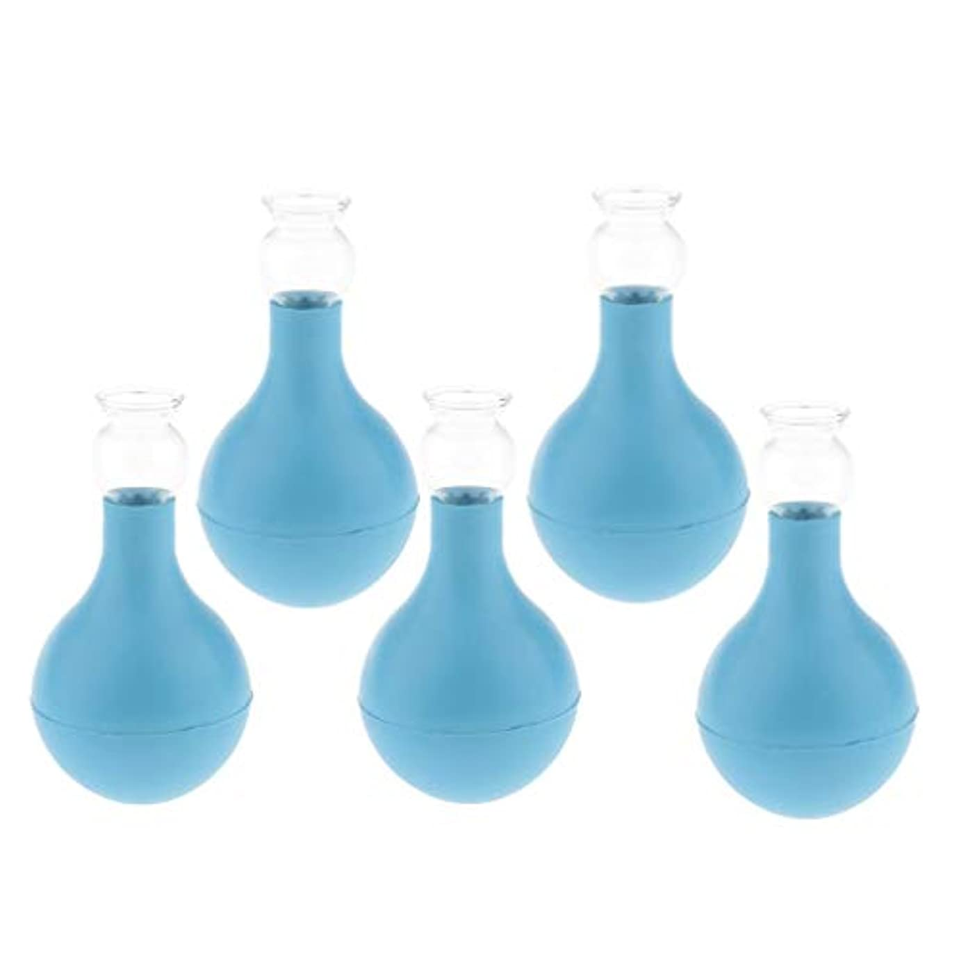 安定威する構成D DOLITY マッサージ 吸い玉 カッピング 5個 シリコン ガラス 顔 首 背中 胸 脚 全身用 2サイズ選ぶ - ブルー+ブルー3cm, 3cm