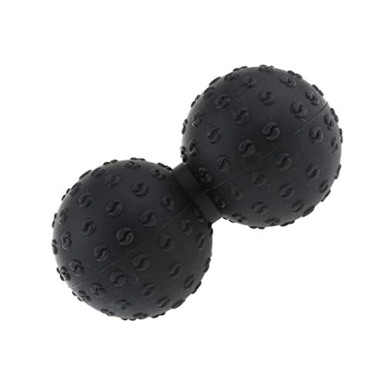移動する結紮シートCUTICATE マッサージボール 指圧ボール シリコン ピーナッツ トリガーポイント 肩、足、腕など 解消 全6色 - ブラック, 説明のとおり