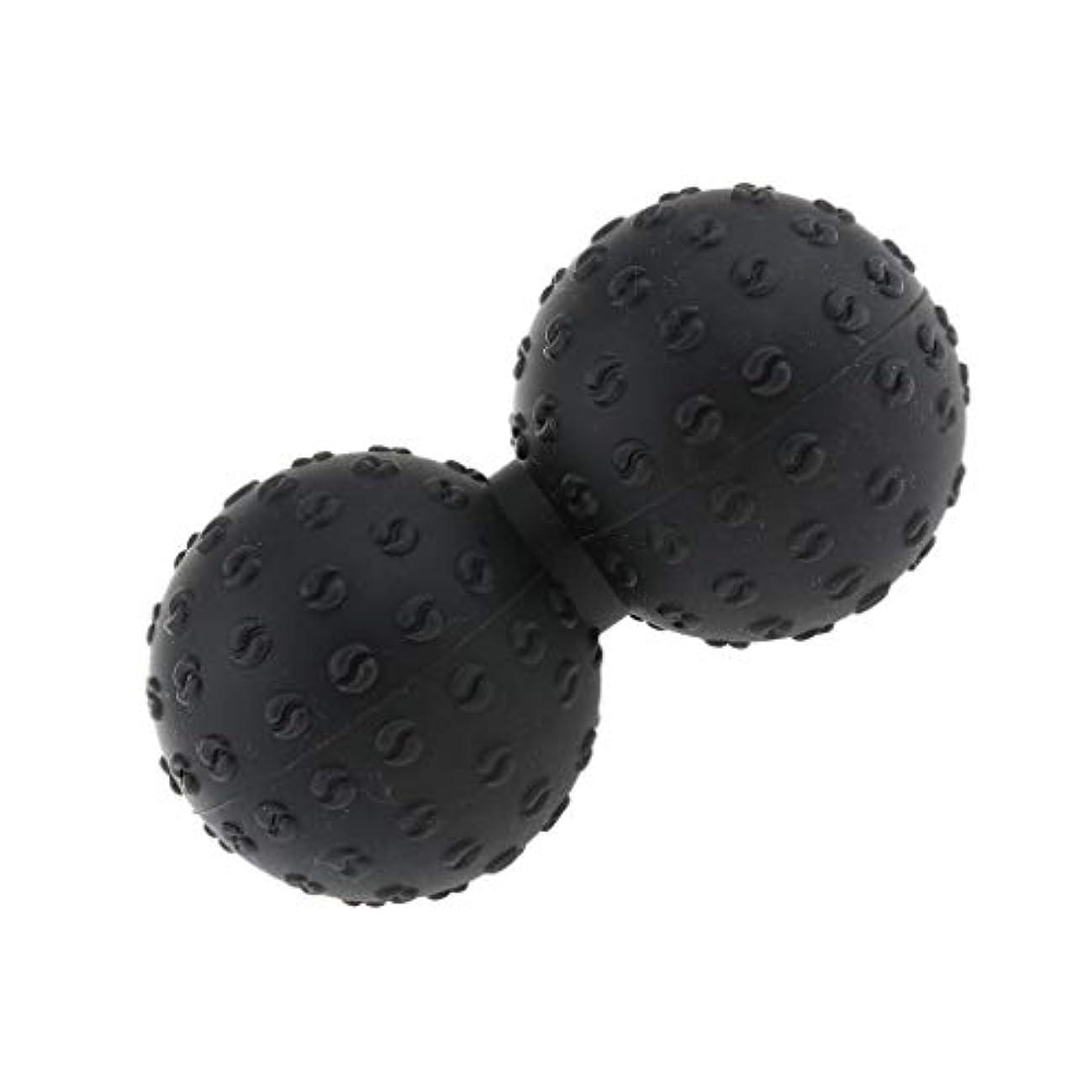 フリンジブラザー基準マッサージボール 指圧ボール シリコン ピーナッツ トリガーポイント 肩、足、腕など 解消 全6色 - ブラック, 説明のとおり